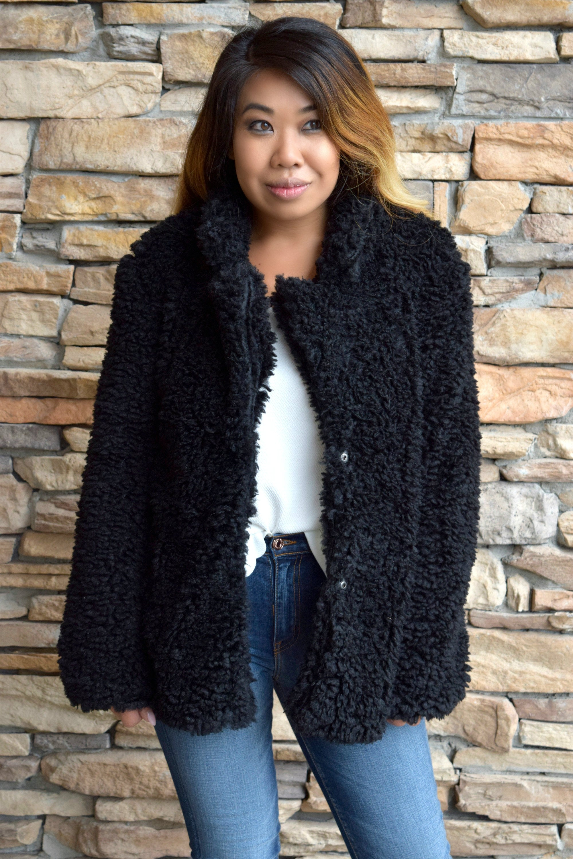 FUR SURE BLACK FAUX FUR COAT