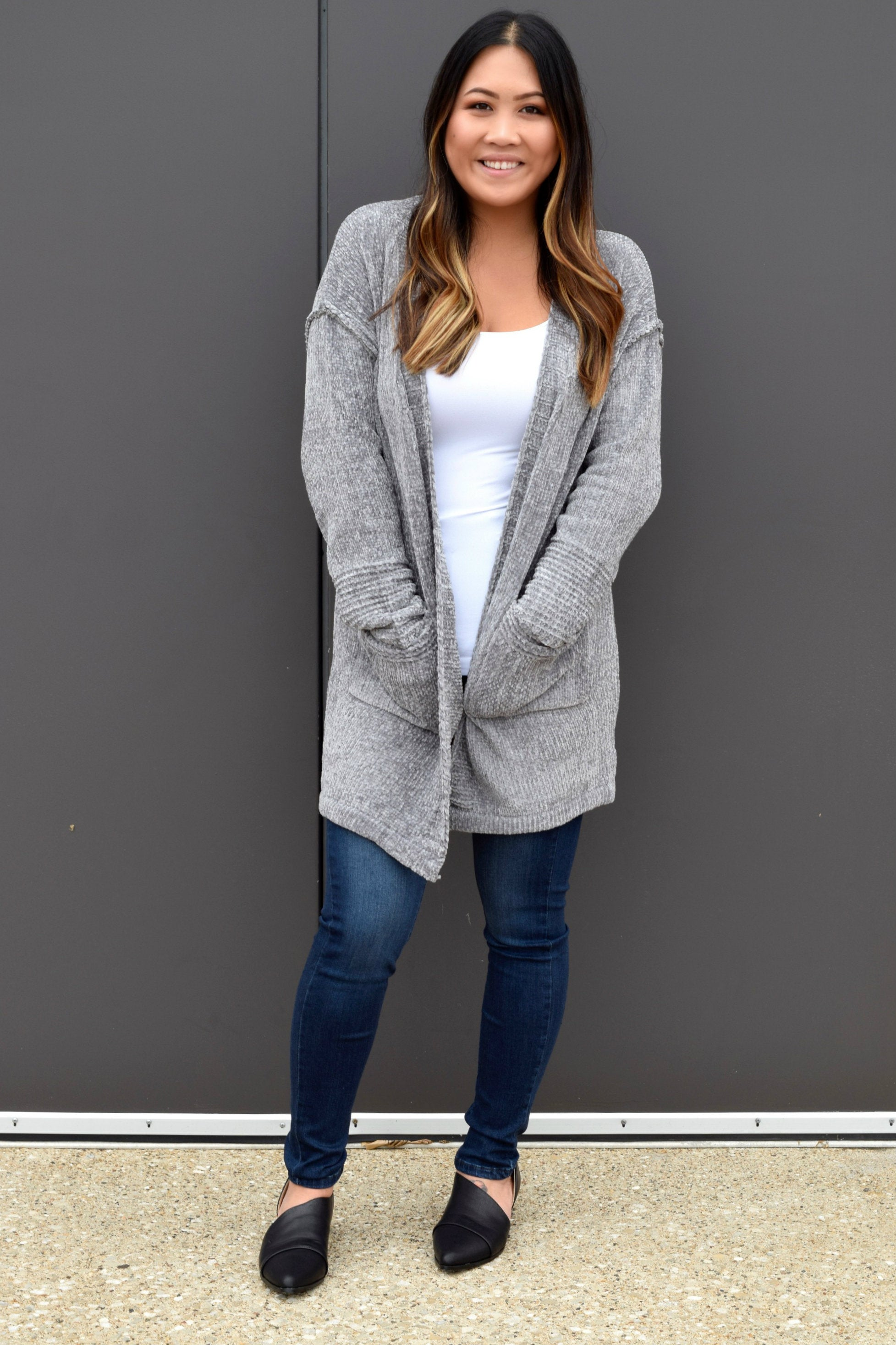 MATCHMAKER GREY CHENILLE CARDIGAN