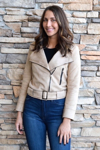 ZIP IT KHAKI SUEDE JACKET