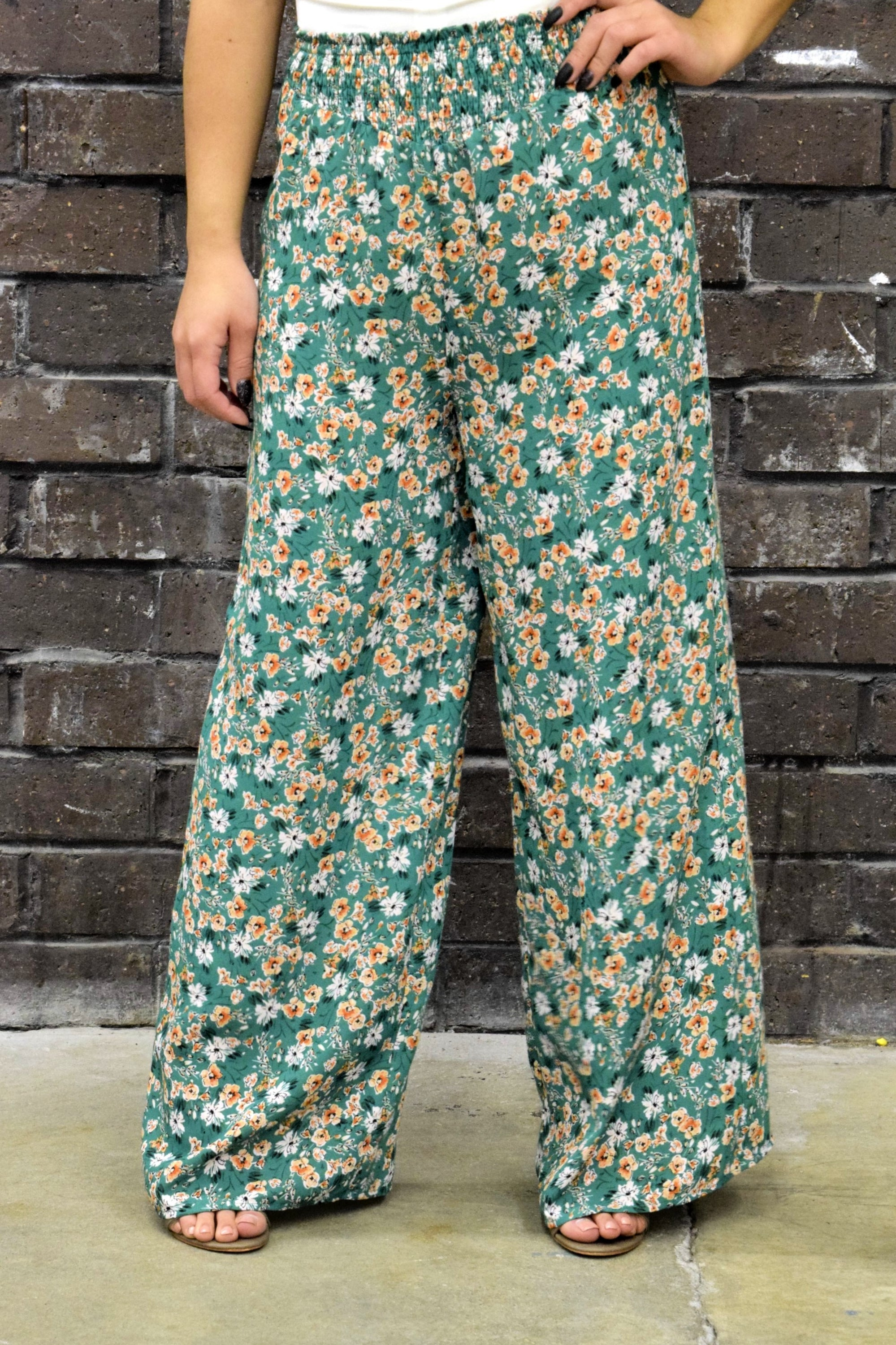 FLORAL MY LOVE GREEN PANTS