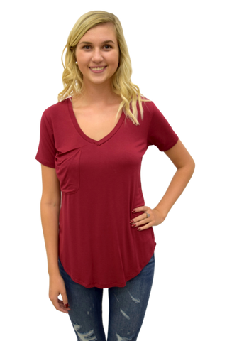 POCKET TEE SLEEK JERSEY: DARK RUBY
