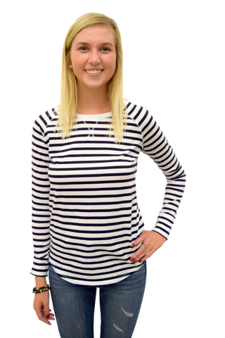 STRIPE AT NOTHING WHITE AND NAVY STRIPED TOP