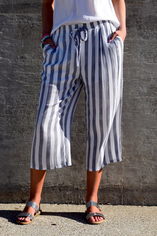 BOTTOMS UP WHITE AND NAVY STRIPED PANTS