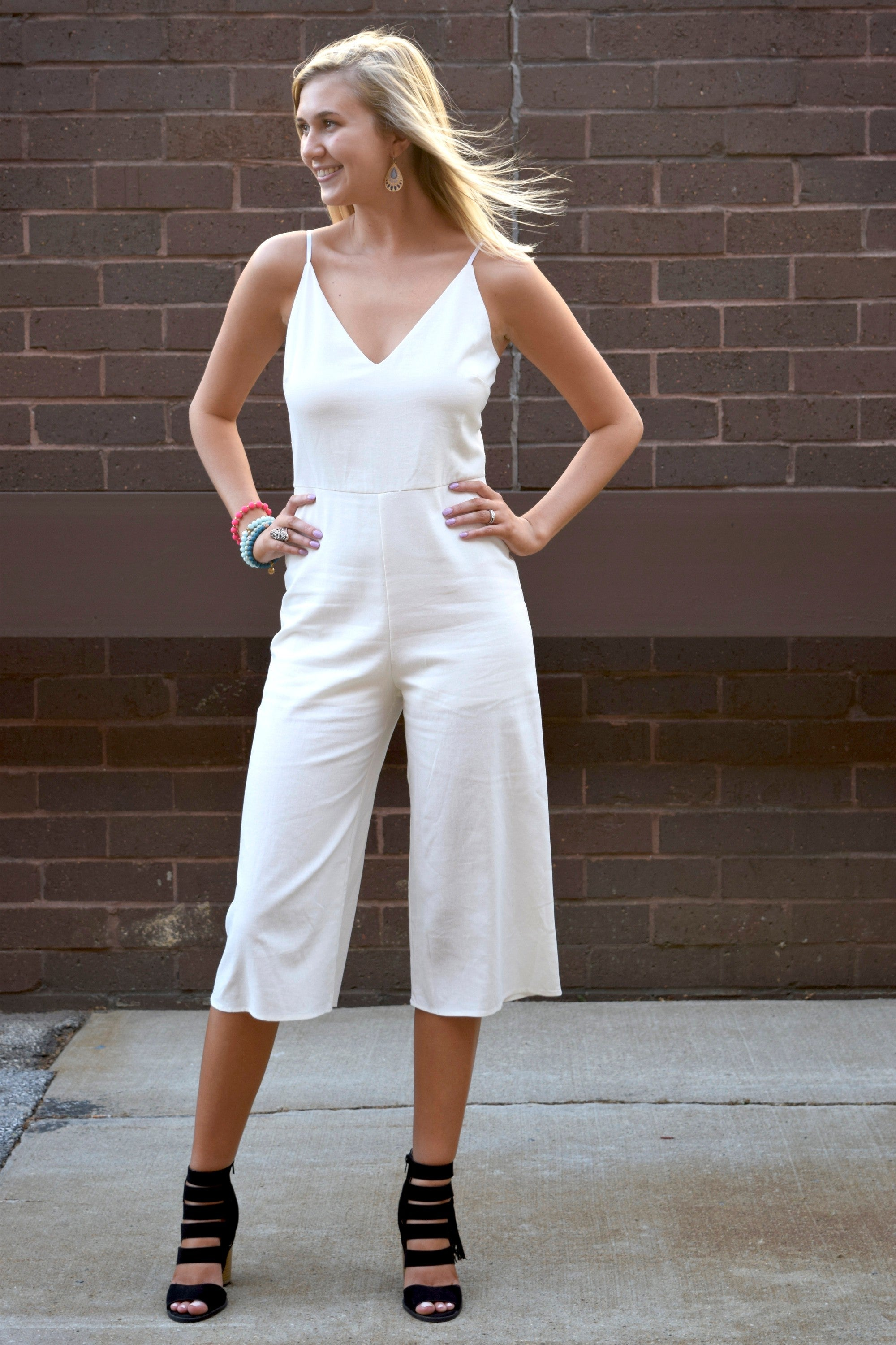 RUN THE WORLD WHITE LINEN JUMPSUIT