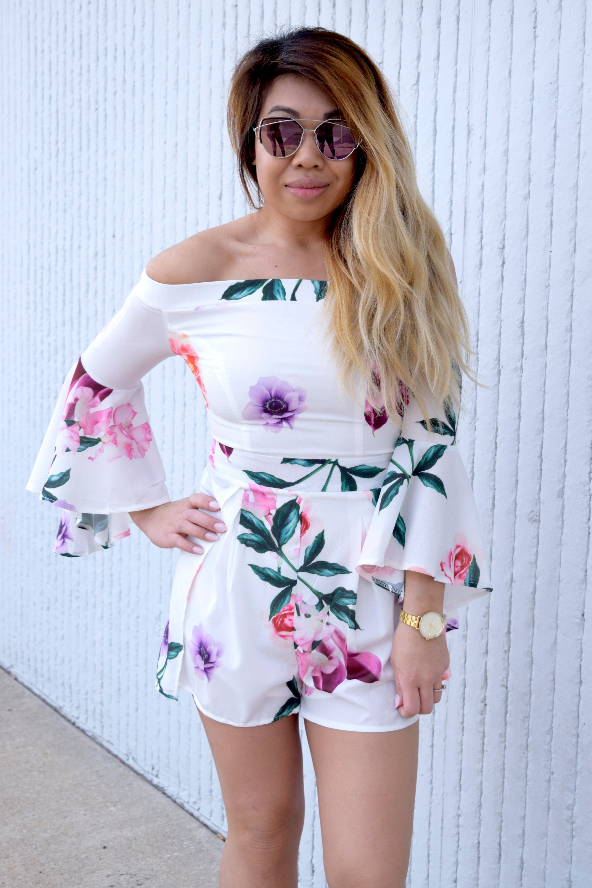 TWO TO THE FLOWER OF LOVE WHITE FLORAL ROMPER