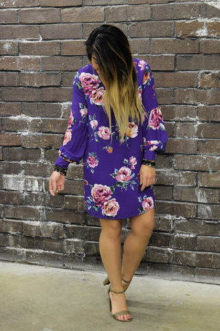 PLANT ONE ON ME PLUM FLORAL DRESS