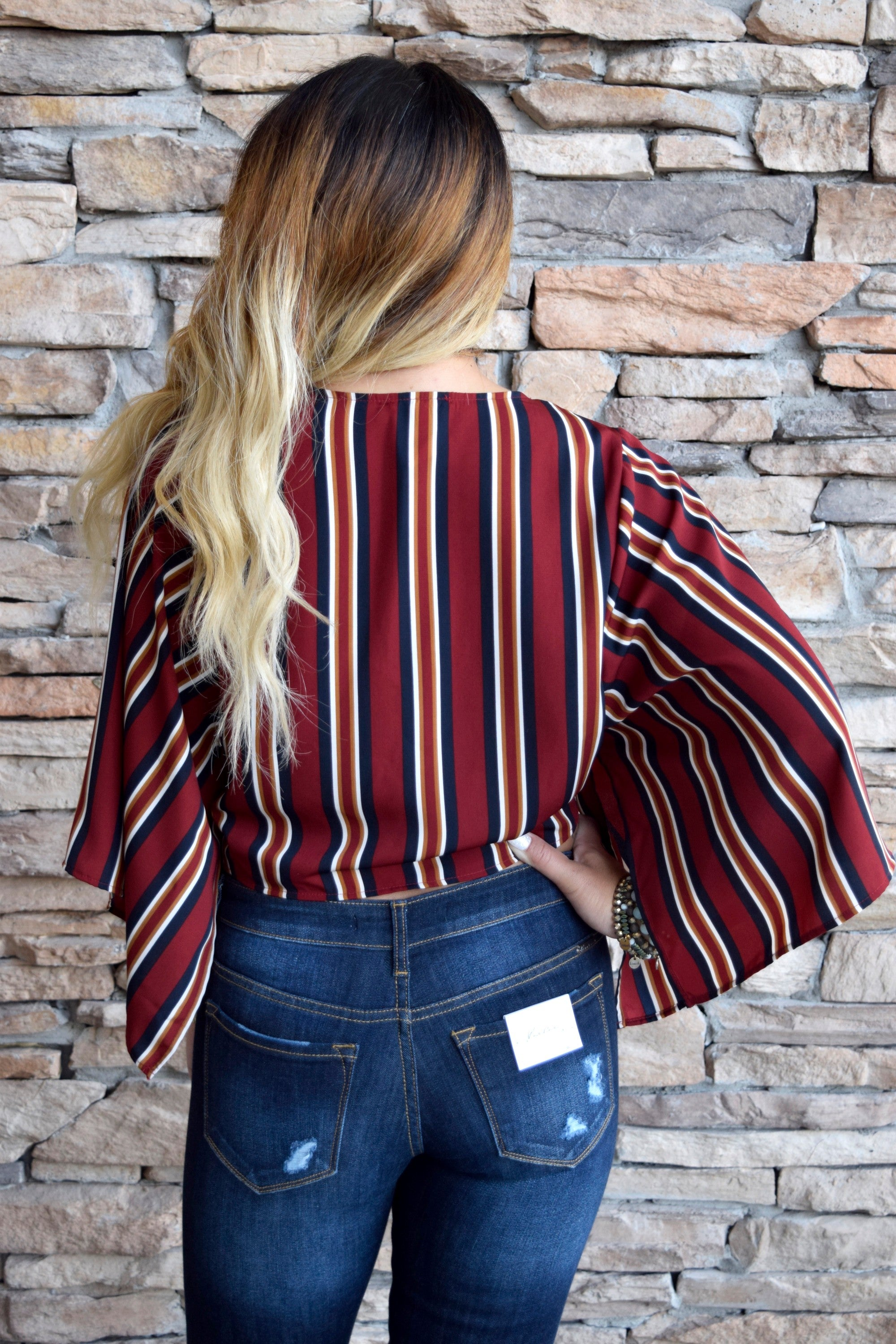 CROP IT OUT BURGUNDY STRIPED TOP