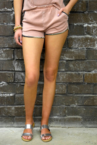BURNIN' UP MAUVE BURNOUT SET: SHORTS