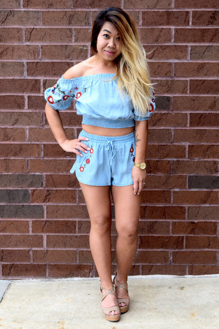 MAD ABOUT BLUE CHAMBRAY SET: SHORTS