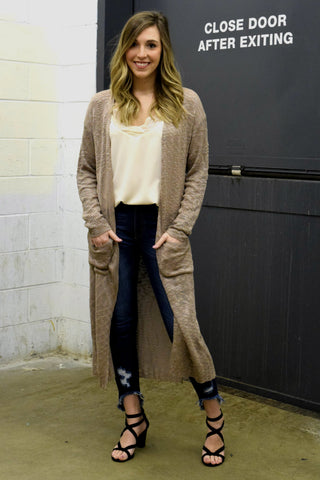LEAVE 'EM IN THE DUSTER CARDIGAN: TAN