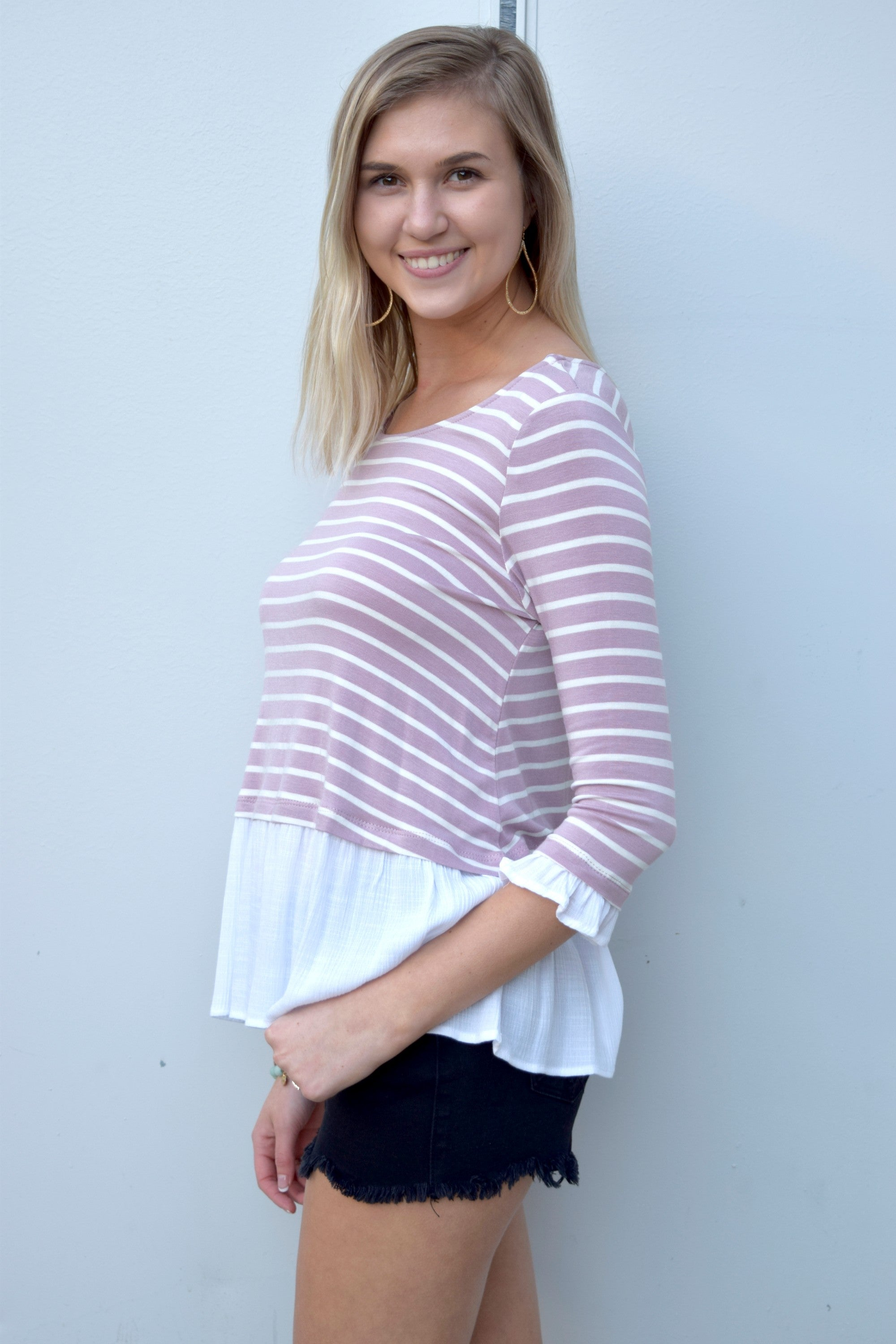 SUNDAY STROLL MAUVE STRIPED TOP