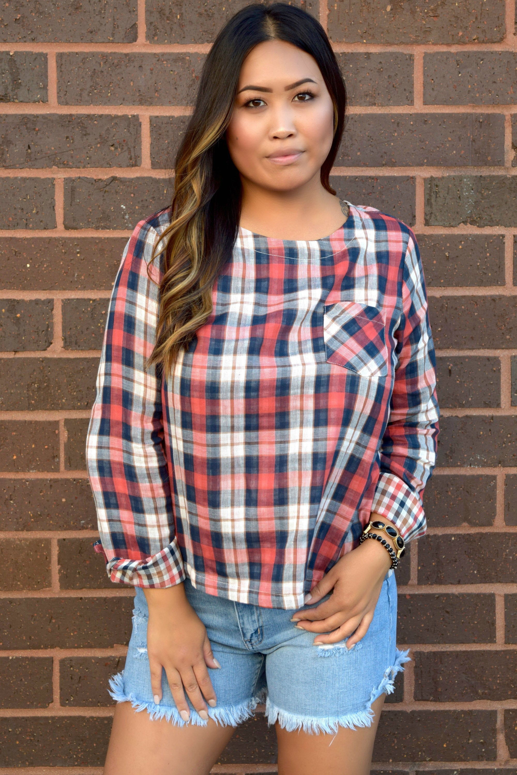 SMALL TOWN GIRL PLAID TOP