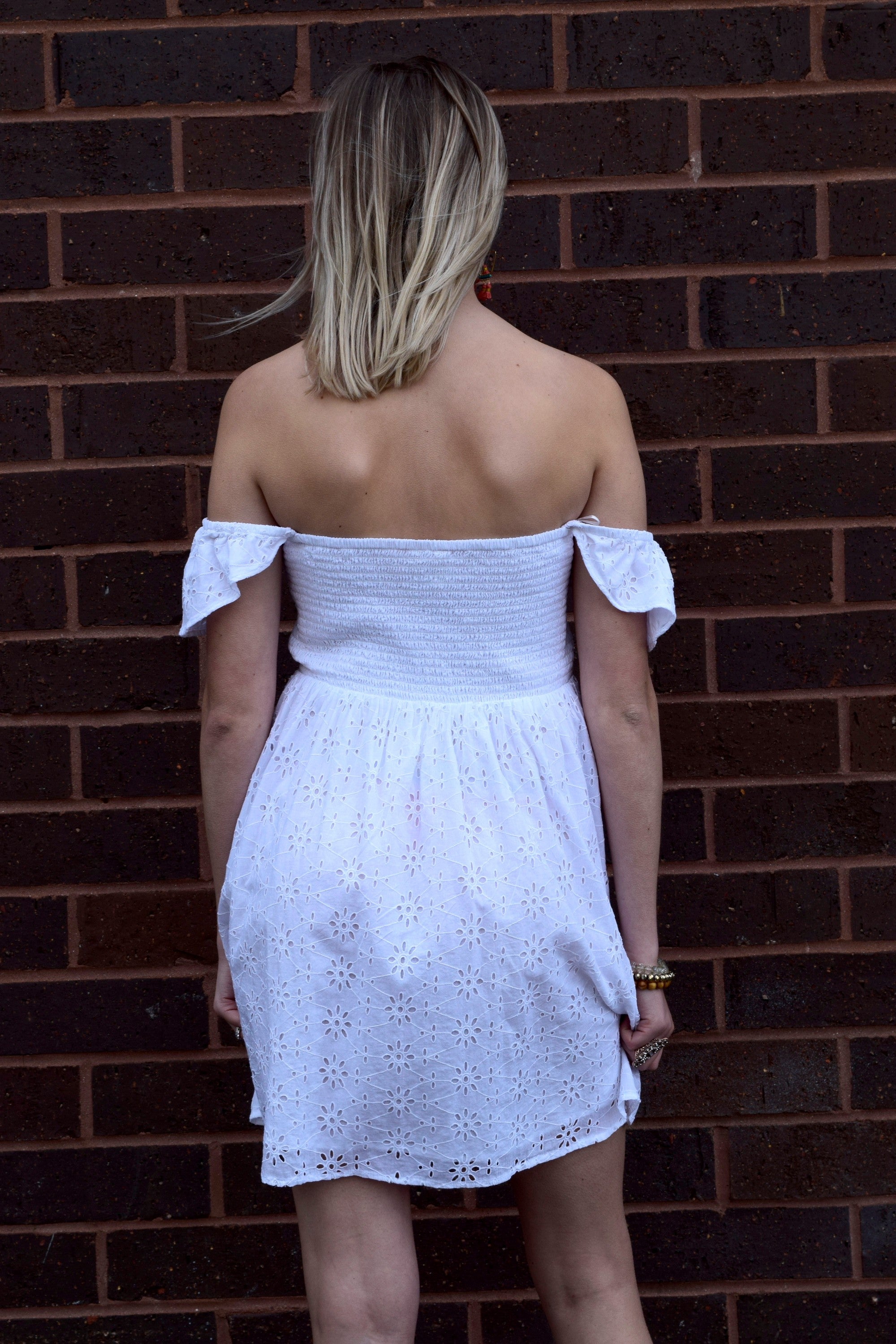 THE SWEETEST THING WHITE EYELET DRESS