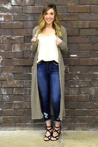 ON POINT MOCHA WAFFLE KNIT CARDIGAN
