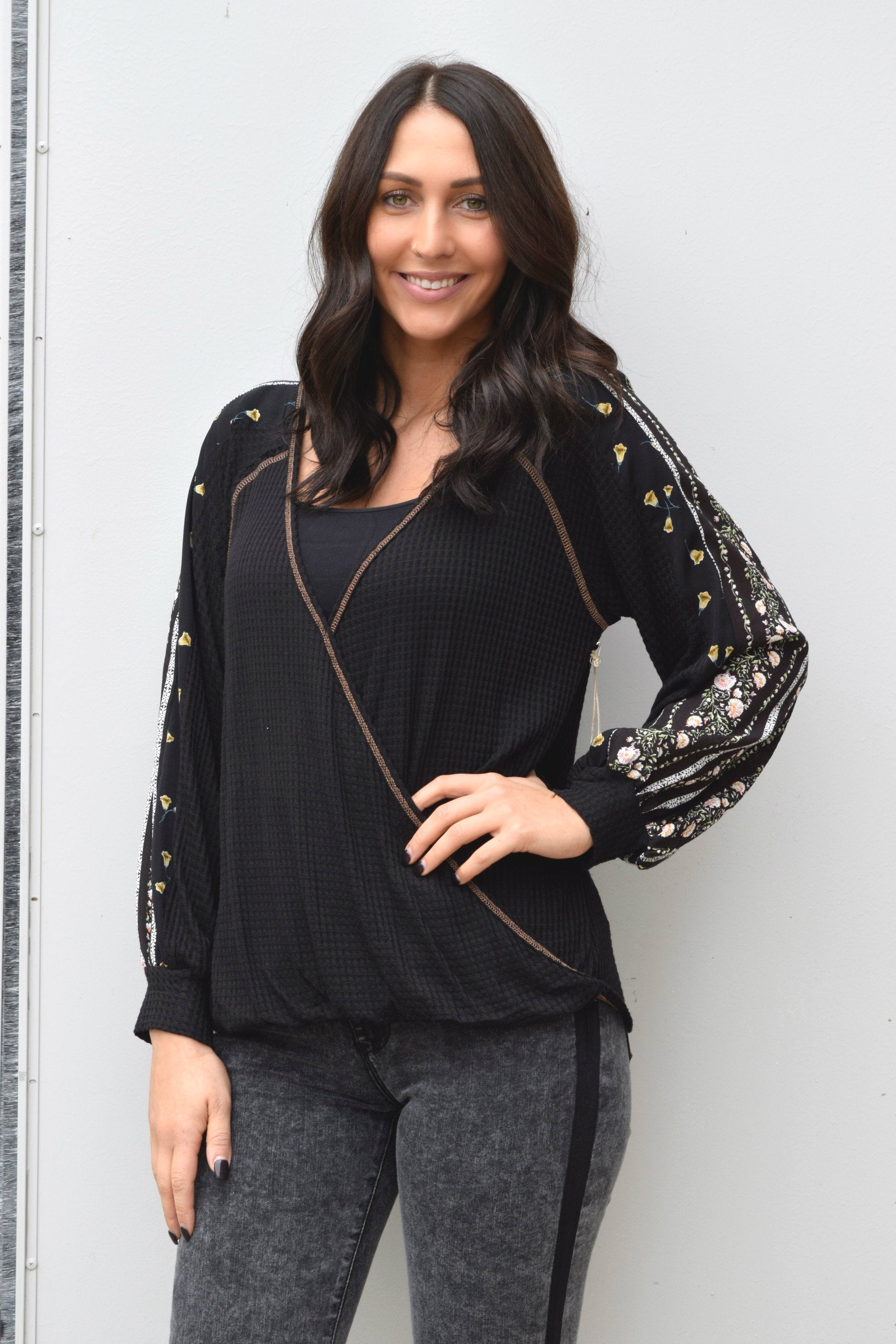 GOOD SIDE BLACK WAFFLE KNIT TOP