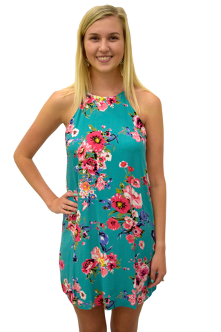 HAWAIIAN PUNCH FLORAL SHIFT DRESS