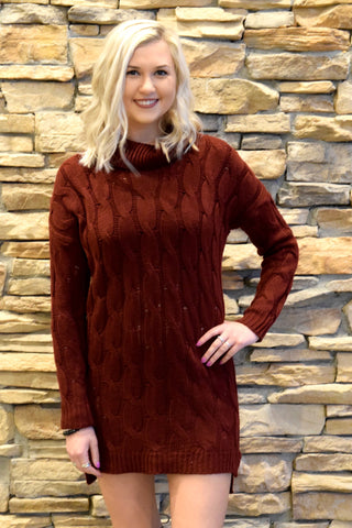 MAKE ME SWOON BURGUNDY SWEATER DRESS