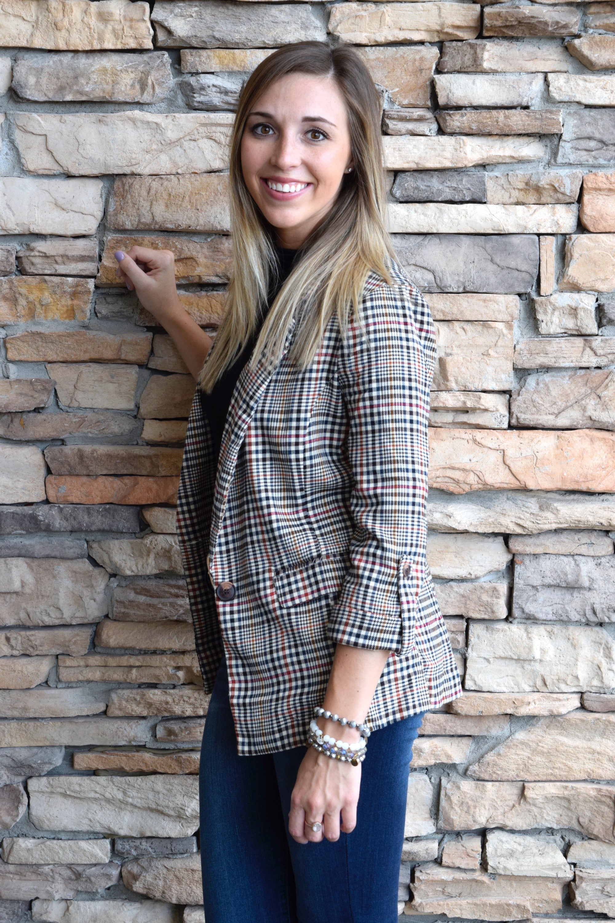 PLAID ROMANCE BLAZER