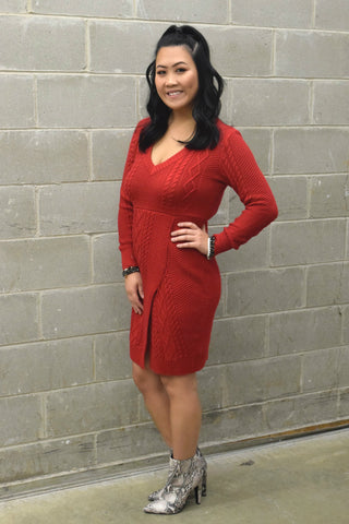 HIGH HOPES RED SWEATER DRESS