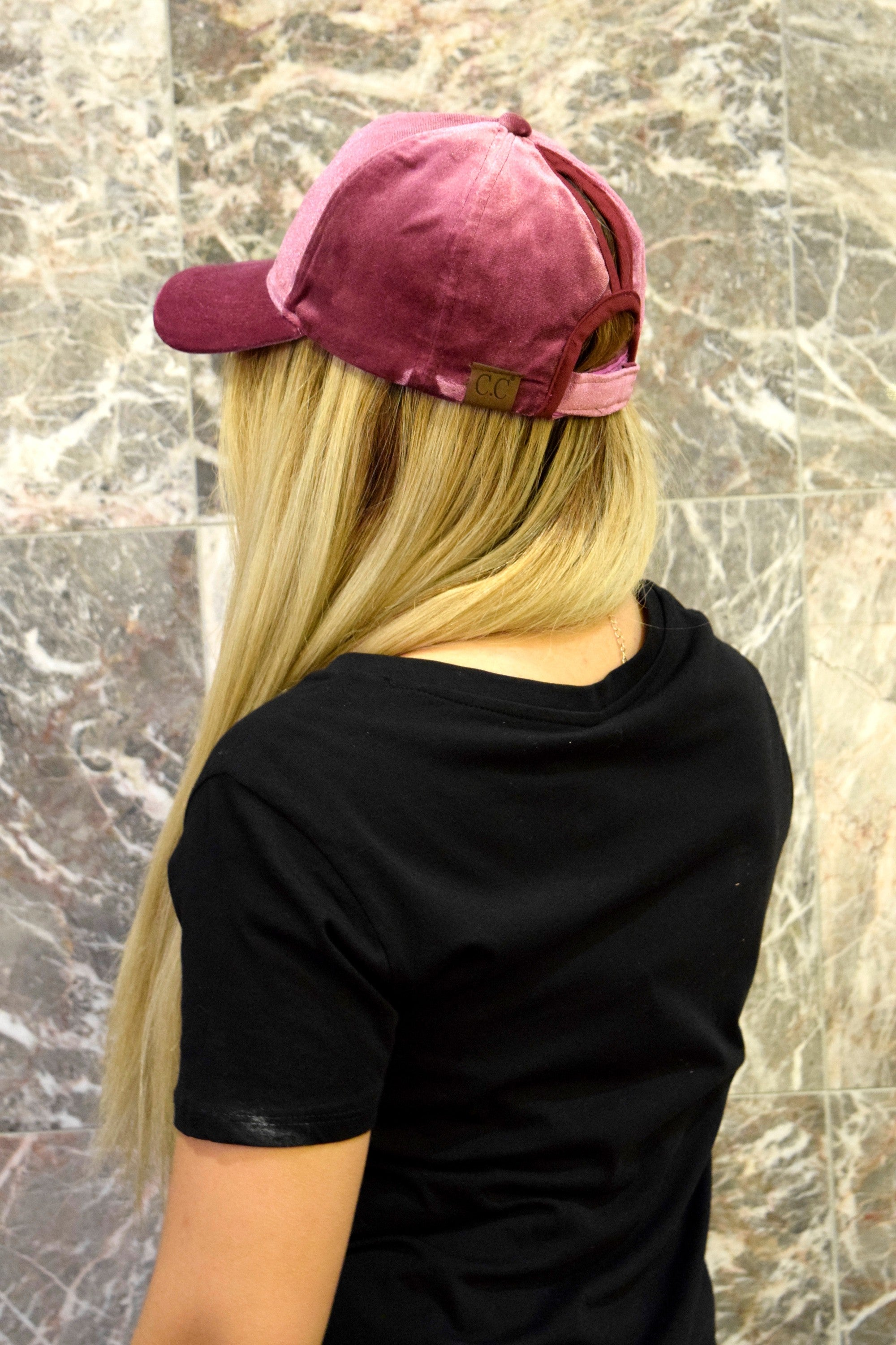 DARK ROSE VELVET BALL CAP