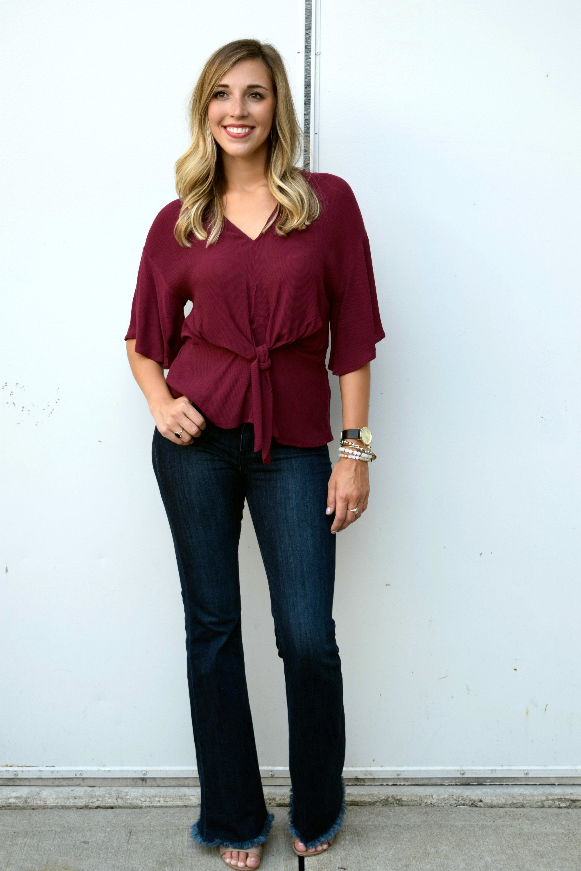 WINE KNOT BURGUNDY BLOUSE