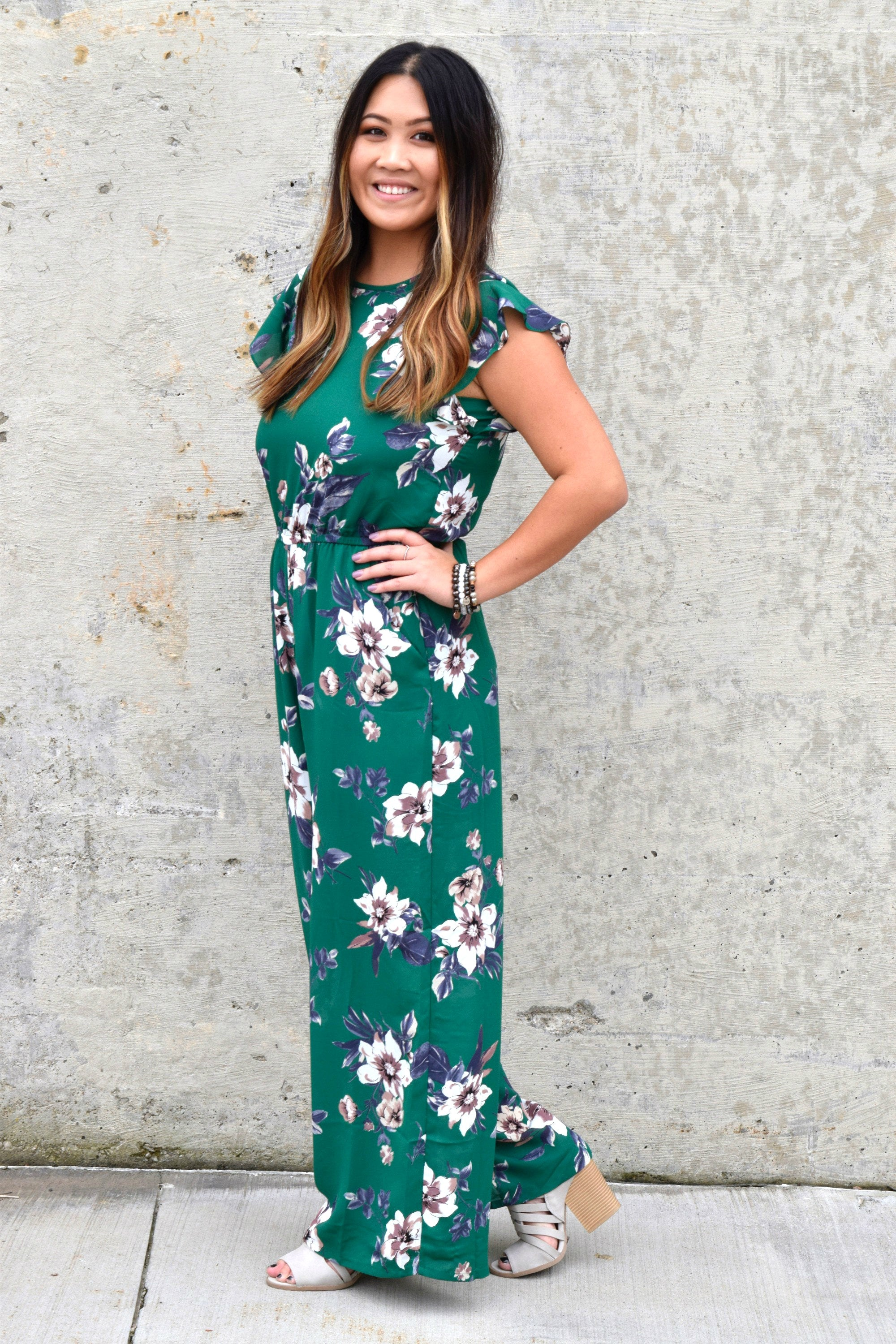 ALL FLORAL LOVE GREEN JUMPSUIT