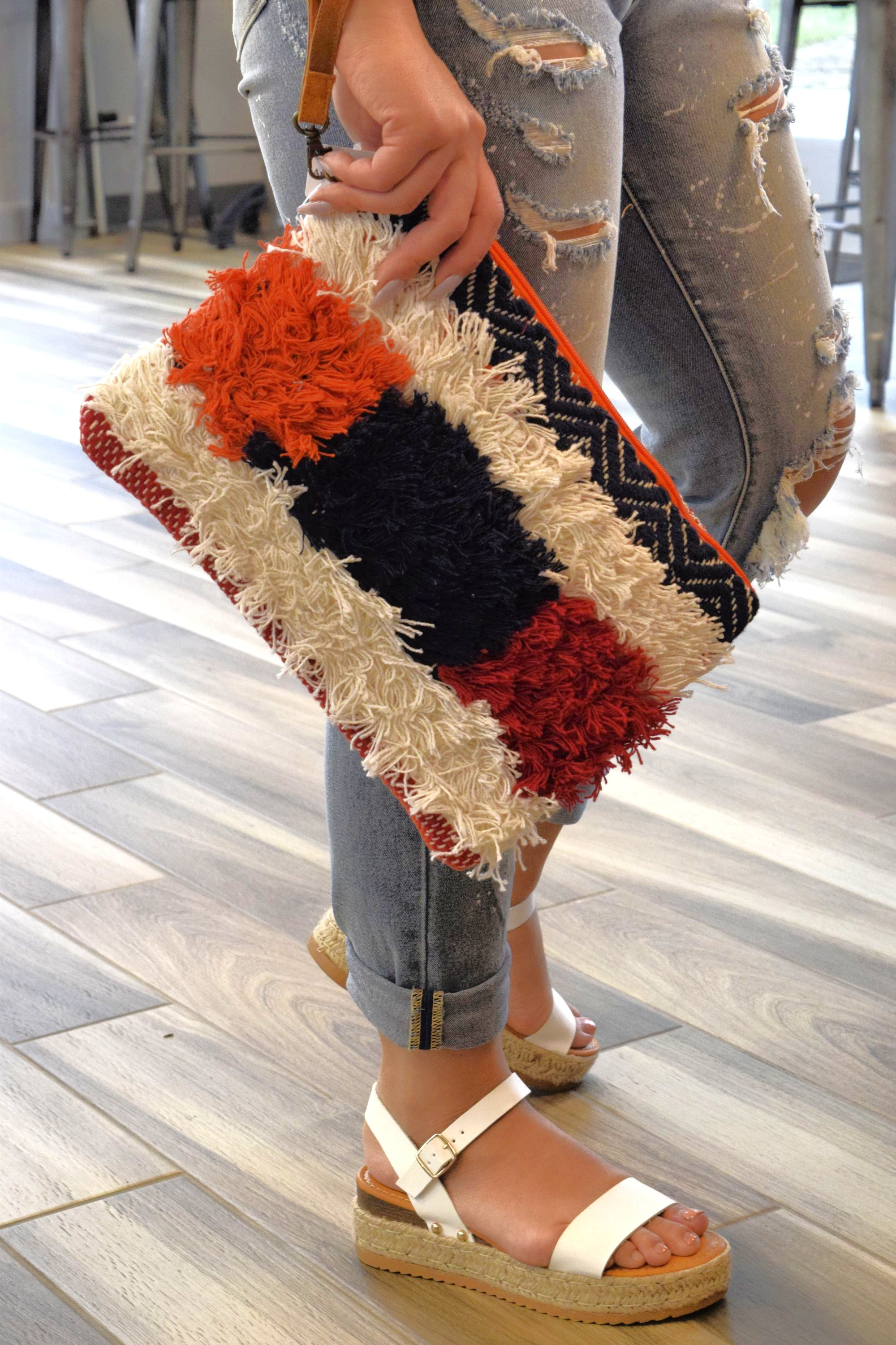 KEEP YOUR FRINGE CLOSE PATCHWORK BAG