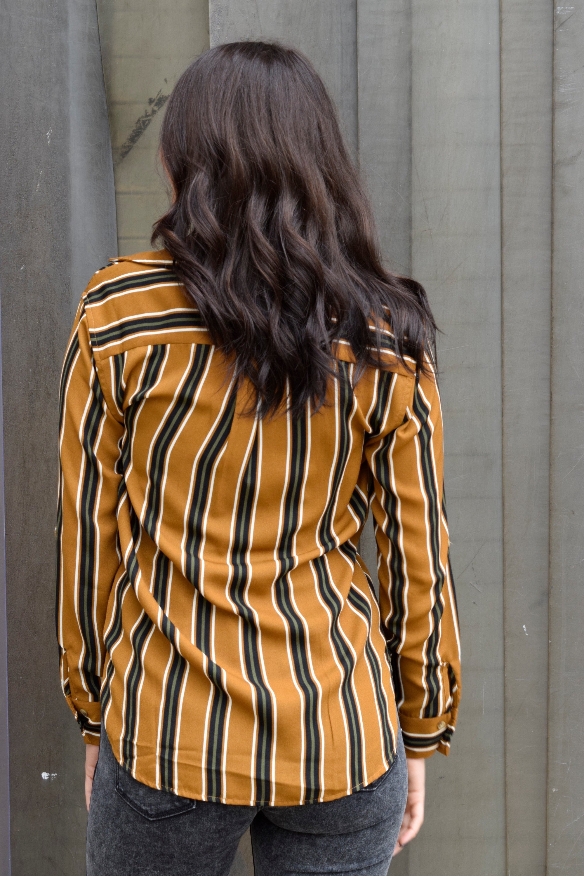 ALL THE STRIPE REASONS MUSTARD TOP