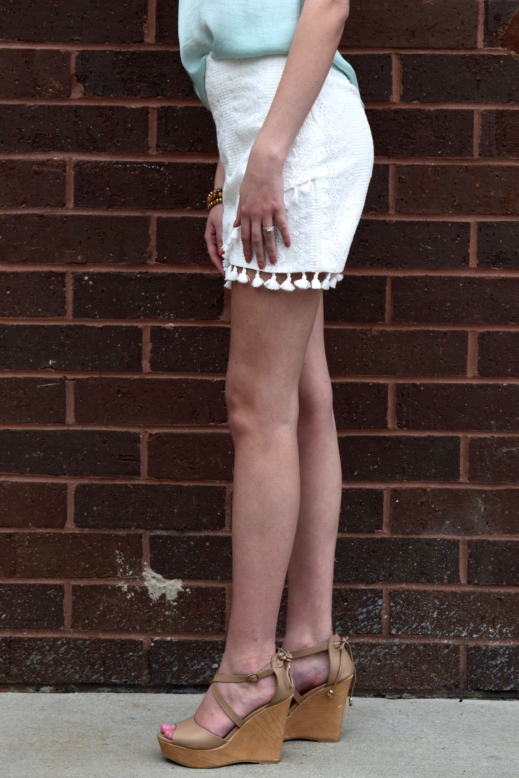 TASSEL TIME WHITE LACE SKIRT
