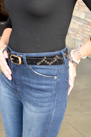 black zig zag trim gold hardware belt