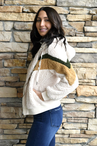THE CHILLS IVORY SHERPA JACKET
