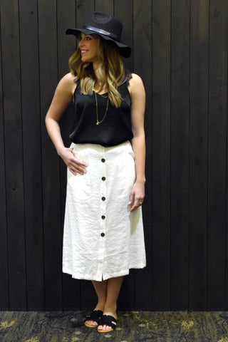 LOOK AT ME NOW WHITE MIDI SKIRT