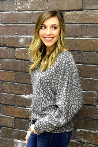 PUR AND SIMPLE GREY LEOPARD TOP