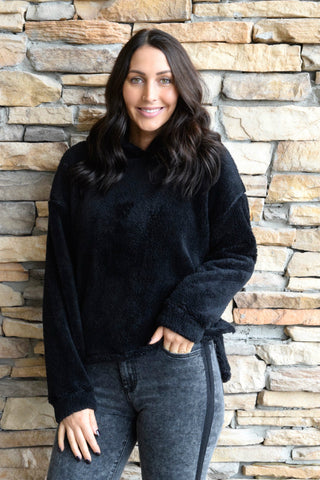 TOUCH AND GO BLACK FLUFFY HOODIE