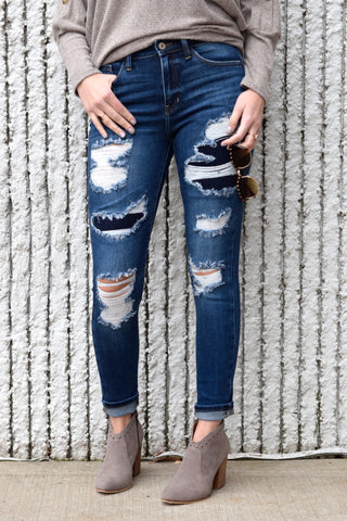 EMILY DARK DISTRESSED DENIM