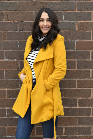 ANOTHER DAY ANOTHER COLLAR COAT: MUSTARD