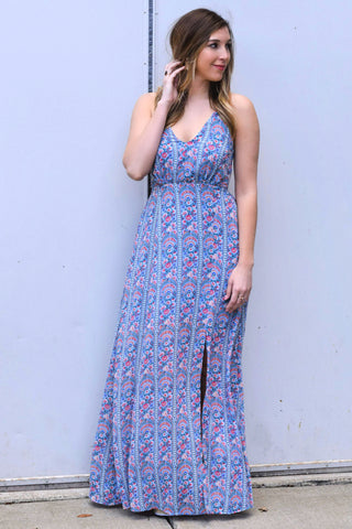 TO THE MAX BLUE MAXI DRESS