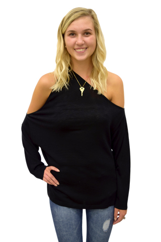 ONE WAY OR ANOTHER BLACK COLD SHOULDER SWEATER