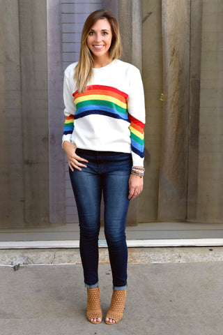 AS HIGH AS THE RAINBOW WHITE SWEATER