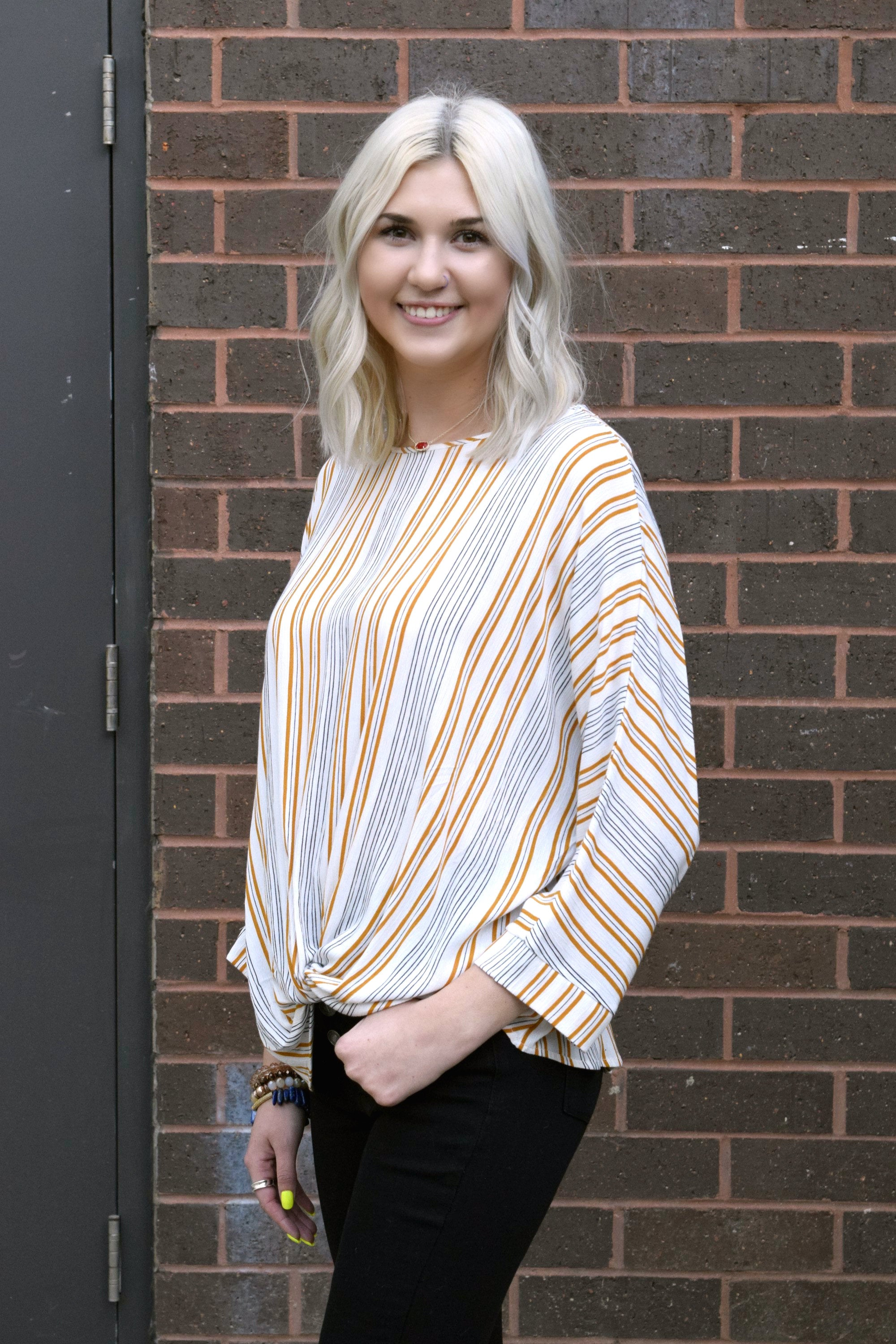 BETWEEN THE LINES MUSTARD STRIPED TOP