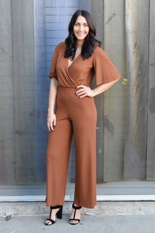 JUMP RIGHT IN RUST JUMPSUIT