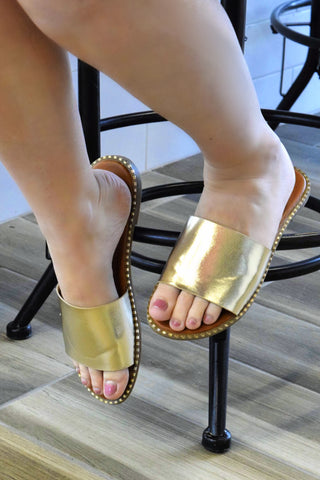WALK YOU THROUGH IT GOLD SANDALS