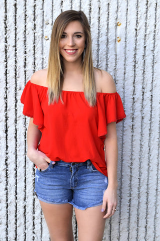 FIRE IN YOUR HEART RED BLOUSE