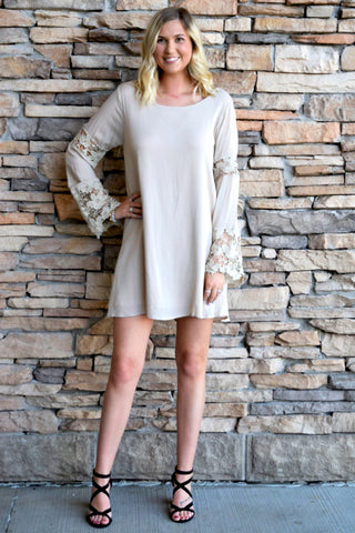 ALL ABOUT THAT LACE KHAKI DRESS