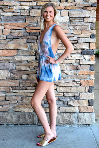 TONGUE TIE-DYED LAVENDER ROMPER