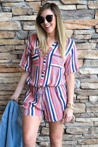 LOVE AT FIRST STRIPE CORAL ROMPER