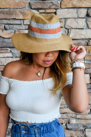 SHADED DAZE TAN RAFFIA SUN HAT