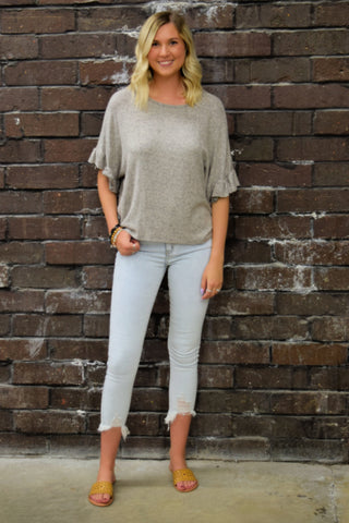 ALL ABOUT THE RUFFLE TAUPE TOP