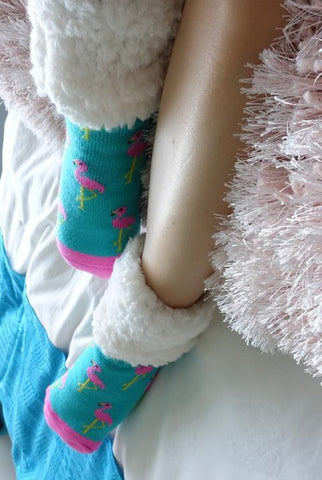 PUDUS SLIPPER SOCKS: FLAMINGO