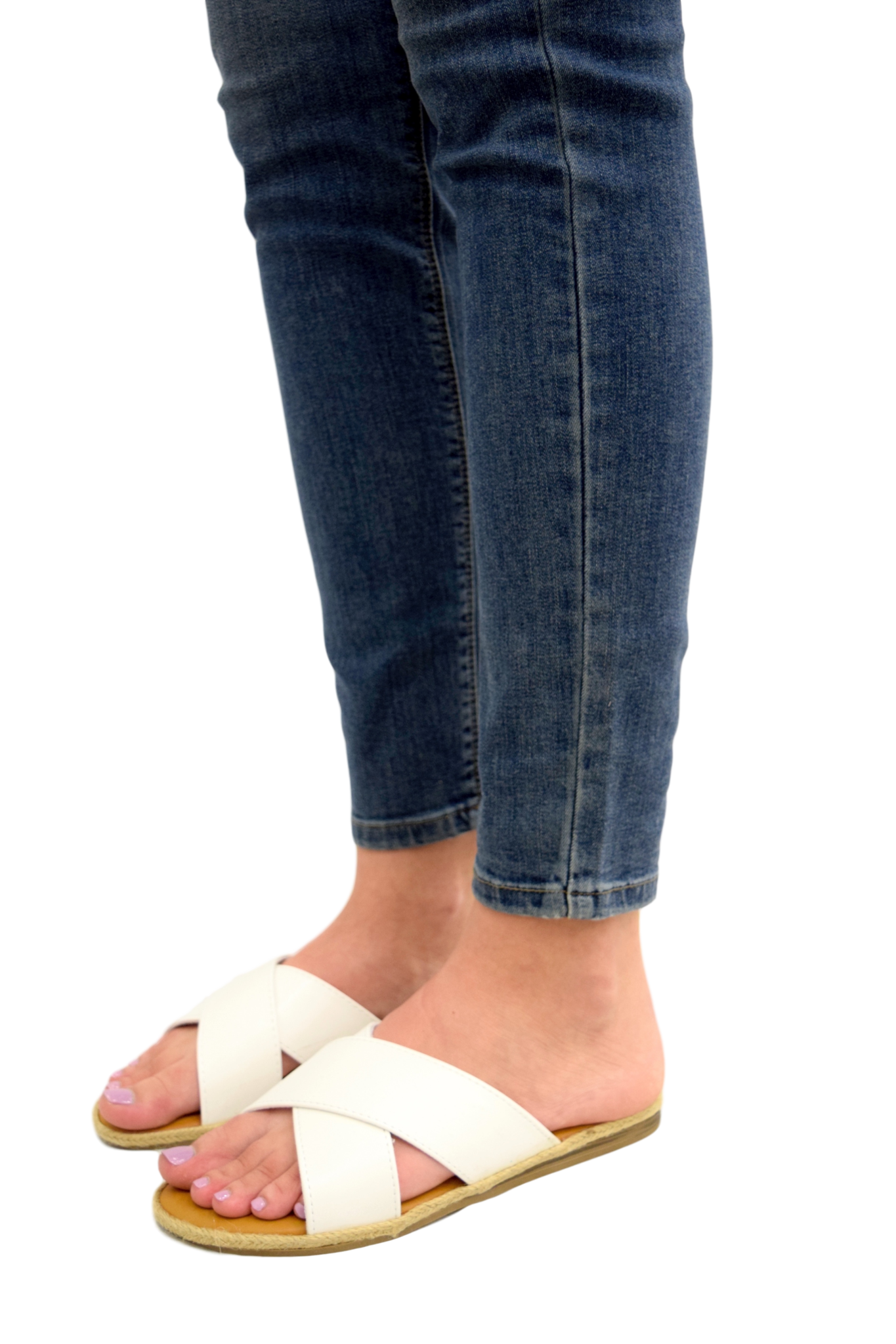 SLIDE INTO SPRING WHITE SANDALS